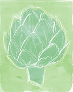 Vegetarian Mixed Media Posters - Artichoke Poster by Linda Woods
