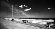 Ocean Black And White Prints Prints - Asbury Benches Print by John Rizzuto