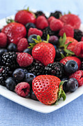 Black Berries Metal Prints - Assorted fresh berries Metal Print by Elena Elisseeva