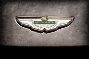 Black And White Photos Posters - Aston Martin Emblem Poster by Jill Reger