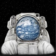 Astronauts Digital Art Posters - Astronaut Earth Poster by Tharsis  Artworks