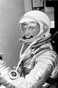 Featured Framed Prints - Astronaut John Glenn Framed Print by War Is Hell Store