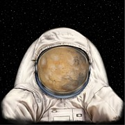 Astronauts Digital Art Posters - Astronaut Mars Poster by Tharsis  Artworks