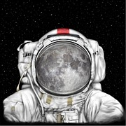 Astronauts Digital Art Posters - Astronaut Moon Poster by Tharsis  Artworks