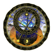 Zodiac Digital Art - Astronomical Clock by Michal Boubin