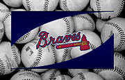 Baseballs Framed Prints - Atlanta Braves Framed Print by Joe Hamilton