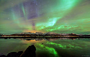 Northernlights Photos - Aurora and sea by Benny Hoeynes