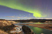 Yukon River Prints - Aurora Borealis Over The Yukon River Print by Joseph Bradley