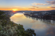 360 Bridge Framed Prints - Austin Images - Pennybacker Bridge Sunrise on a December Morning Framed Print by Rob Greebon