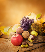 Purple Grapes Prints - Autumn fruit Print by Mythja  Photography