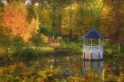 Fall Scenes Metal Prints - Autumn Gazebo Metal Print by Joann Vitali