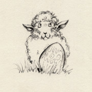 Easter Drawings Posters - Baa Baa Poster by Angel  Tarantella