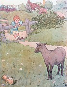 Boy Drawings Posters - Baa Baa Black Sheep Poster by Leonard Leslie Brooke