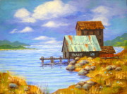 Serenity Landscapes Paintings - Bait  Shack by Shasta Eone
