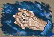 Portraiture Pastels Prints - Bakers Hands Print by Judy Sprague