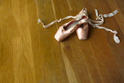 Hardwood Floor Framed Prints - Ballet Slippers Framed Print by Diane Diederich