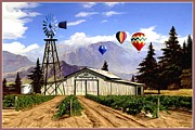 Winery Digital Art Prints - Balloons Over the Winery Print by Ronald Chambers
