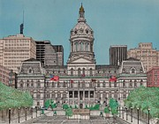 Baltimore Drawings Metal Prints - Baltimore City Hall Metal Print by Calvert Koerber