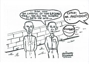 Elected Prints - Barack Obama And Usain Bolt Cartoon Print by Mudiama Kammoh