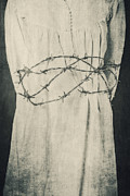 Shirt Framed Prints - Barbed Wire Framed Print by Joana Kruse