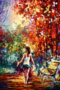 Autumn Trees Painting Posters - Barefooted Stroll Poster by Leonid Afremov