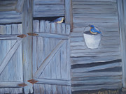 Birds On Barn Prints - Barn  Print by Glenda Barrett