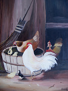 Barrel Painting Originals - Barnyard by Glenda Barrett
