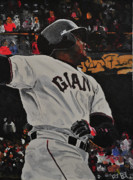 Barry Bonds Posters - Barry Bonds World Record Breaking Home run Poster by Ruben Barbosa