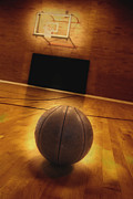 Basket Ball Game Prints - Basketball and Basketball Court Print by Lane Erickson