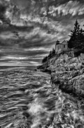 Rocky Maine Coast Posters - Bass Harbor Lighthouse Poster by Chad Tracy