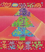 Christmas Card Tapestries - Textiles Framed Prints - Batik Christmas Tree Framed Print by Yana Vergasova