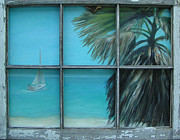 Beach Window Painting Framed Prints - Beach Cottage View Framed Print by Patty Weeks