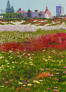 Building Painting Originals - Beach Flowers at the Del by Mary Helmreich