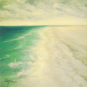 Landscapes Paintings - Beach Walk by Mary Taglieri