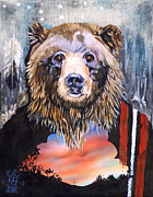 Major Mixed Media Framed Prints - Bear Medicine Framed Print by J W Baker