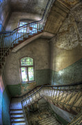 Creepy Digital Art Framed Prints - Beelitz stairs  Framed Print by Nathan Wright