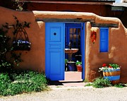 Taos Metal Prints - Behind A Blue Door 1 Metal Print by Mel Steinhauer