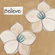 White Blue Posters - Believe Poster by Linda Woods