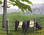 Oreo Painting Prints - Belted Galloway Cow Painting Rockport Maine Print by Keith Webber Jr