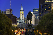 William Penn Photos - Ben Franklin Parkway and City Hall by John Greim