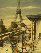 Eiffel Tower Drawings Metal Prints - Beneath the Tower #3 Metal Print by Diane Strain