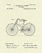 Bike Drawings - Bicycle 1890 Patent Art by Prior Art Design