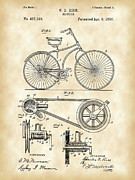 Parchment Framed Prints - Bicycle Patent Framed Print by Stephen Younts