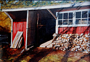 Shed Painting Framed Prints - Biffs Wood Shed Framed Print by Wayne Mathisen