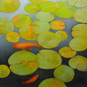 Lily Pads Framed Prints Prints - Big Koi Print by Cap Pannell