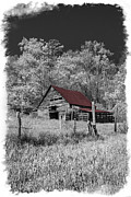 Winter Scenes Rural Scenes Prints - Big Red Print by Debra and Dave Vanderlaan
