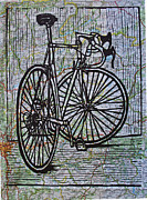 Linocut Metal Prints - Bike 4 on Map Metal Print by William Cauthern