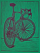 Lino Drawings Posters - Bike 4 Poster by William Cauthern