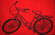Linocut Posters - Bike 5 Poster by William Cauthern