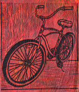 Block Print Drawings - Bike 6 by William Cauthern